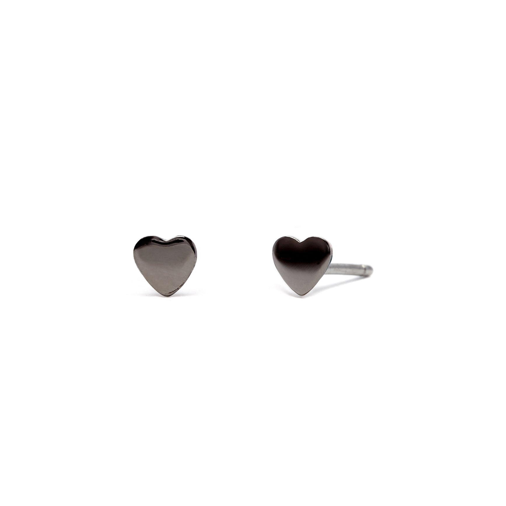 Love Heart - Earrings - Black Rhodium - Stud - Pair - Louise Varberg Jewellery