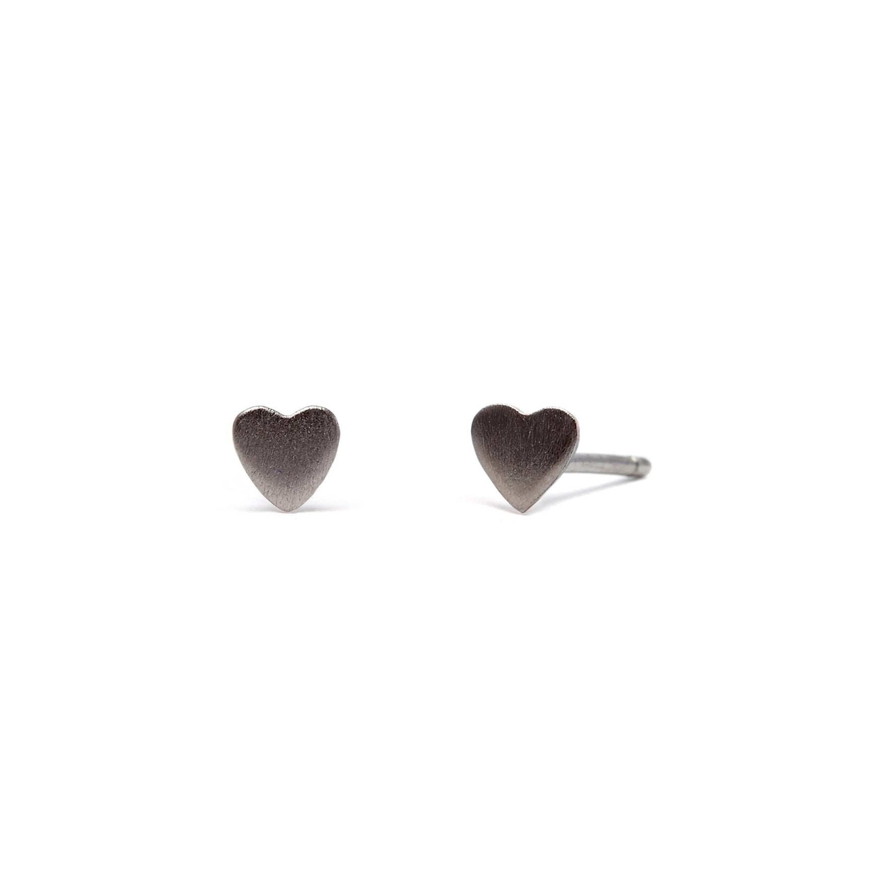 Love Heart - Earrings - Black Rhodium Satin - Stud - Pair - Louise Varberg Jewellery
