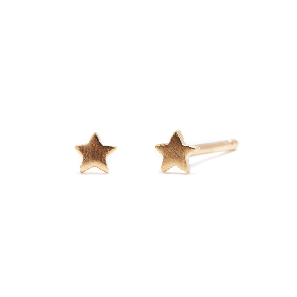 Love Star - Earrings - Yellow Gold Satin - Stud - Pair - Louise Varberg Jewellery