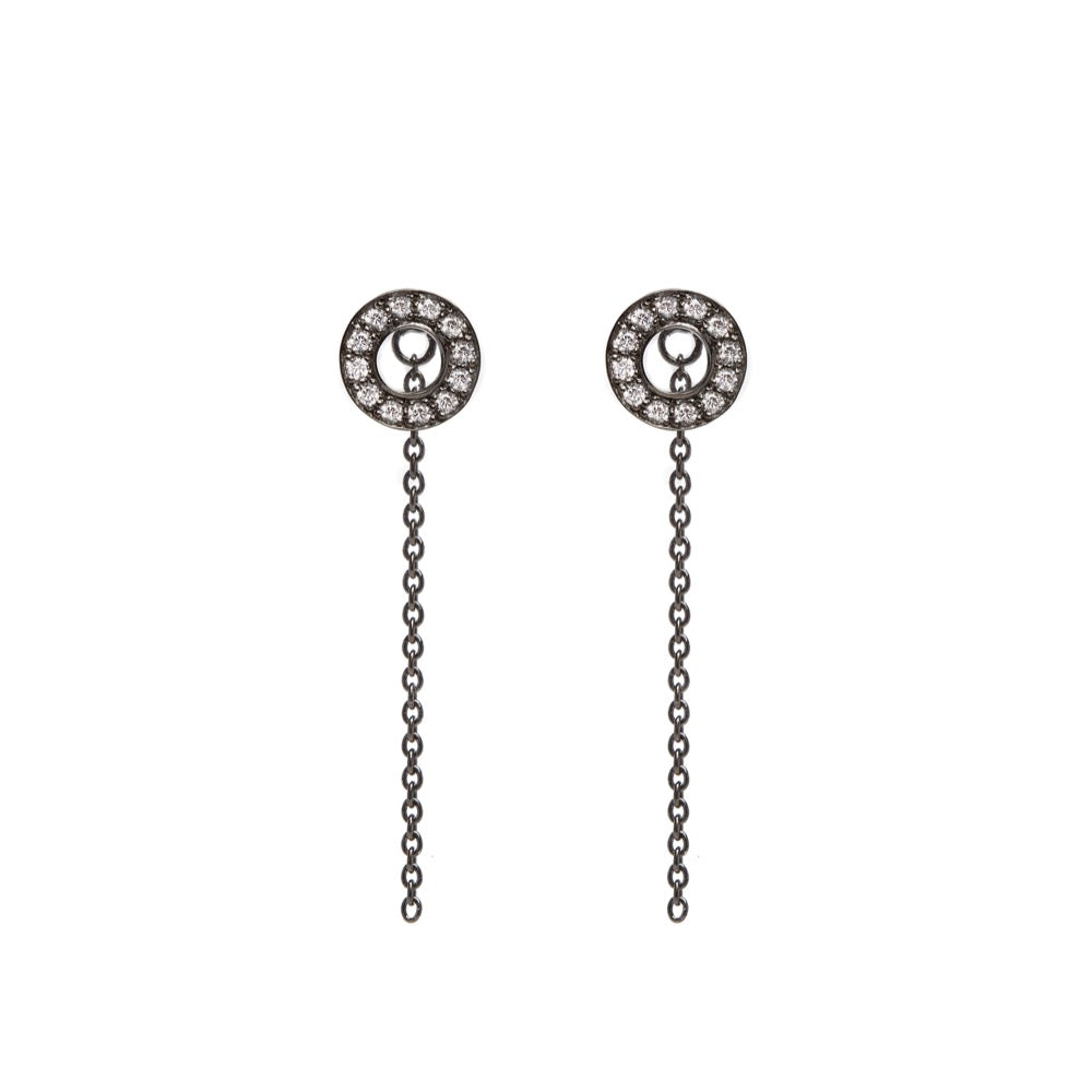 Hula - Earrings - White Sapphire - Black Rhodium - Louise Varberg Jewellery