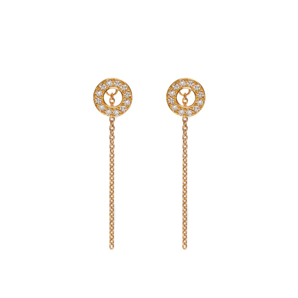 Hula - Earrings - White Sapphire - Yellow Gold - Louise Varberg Jewellery