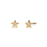 Shooting Star - Earrings - Yellow Gold - Diamond - Stud - Pair - Louise Varberg Jewellery