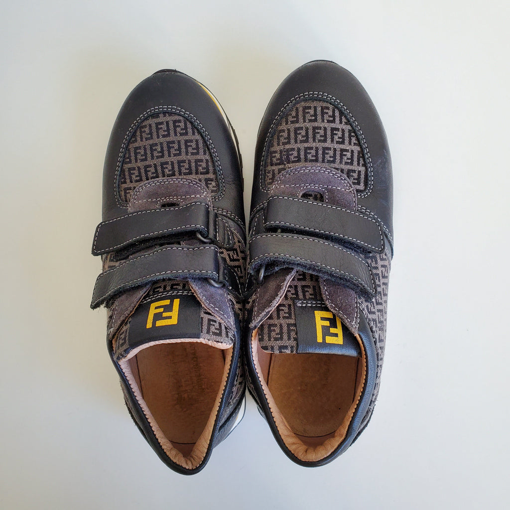 Preloved and authentic Fendi sneakers. The  soles are almost like new. There is a few signs of wear at the front, as seen in the picture, but no too visible. Good condition other wise. Size is 34 European.