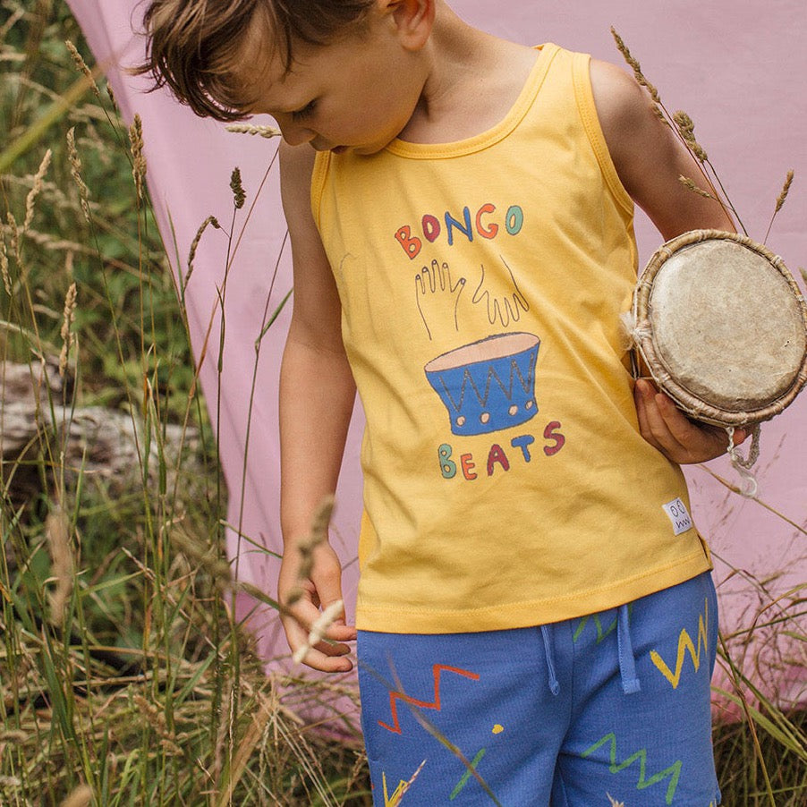Boy wearing Indikidual Zig zag print short. Made ethically in India with 100% Organic Cotton.