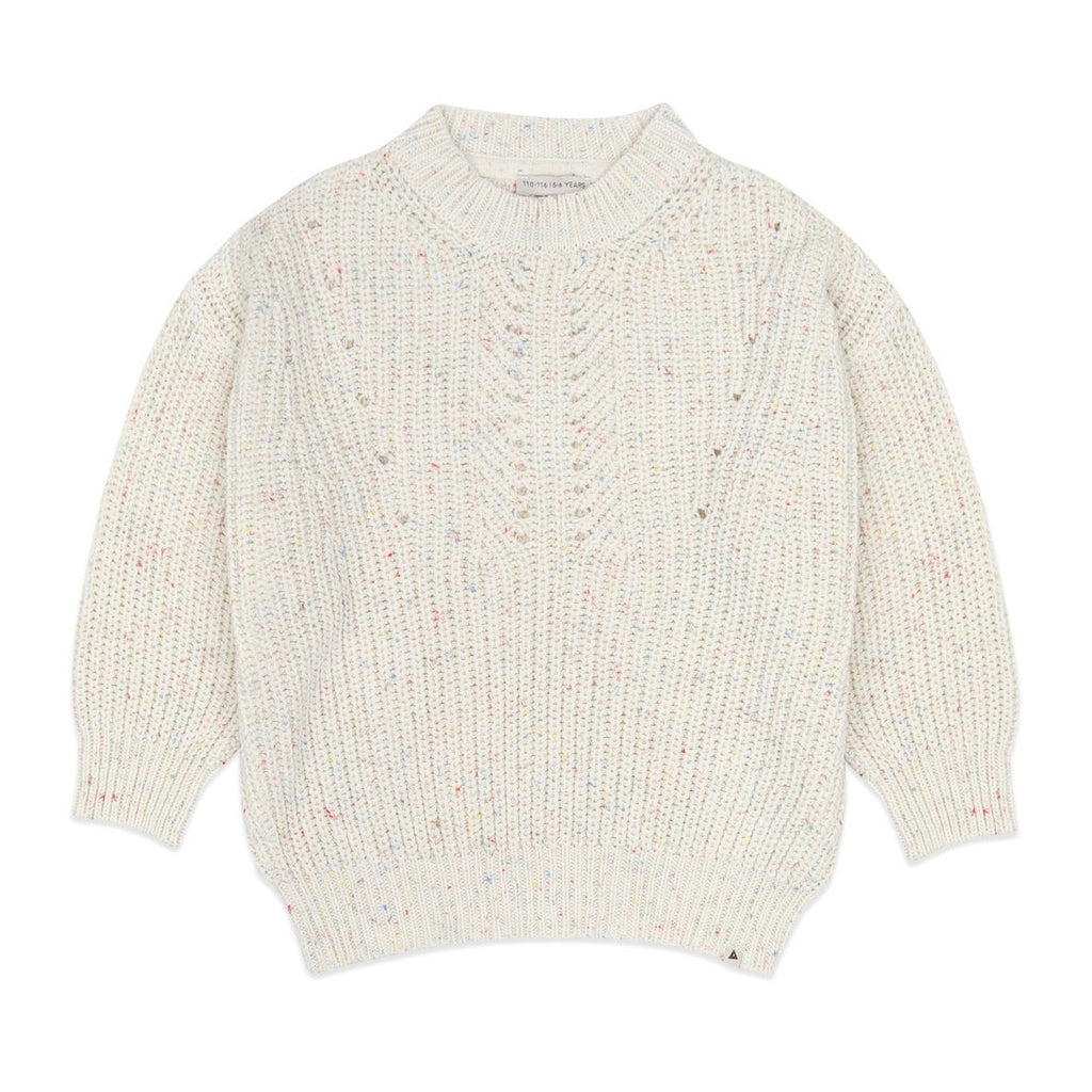 Ammehoela knit sweater in eggwhite with a subtle splash of colour. Ethically made in the EU. Gender neutral. 57% Cotton / 40% Acrylic / 3% Polyester.