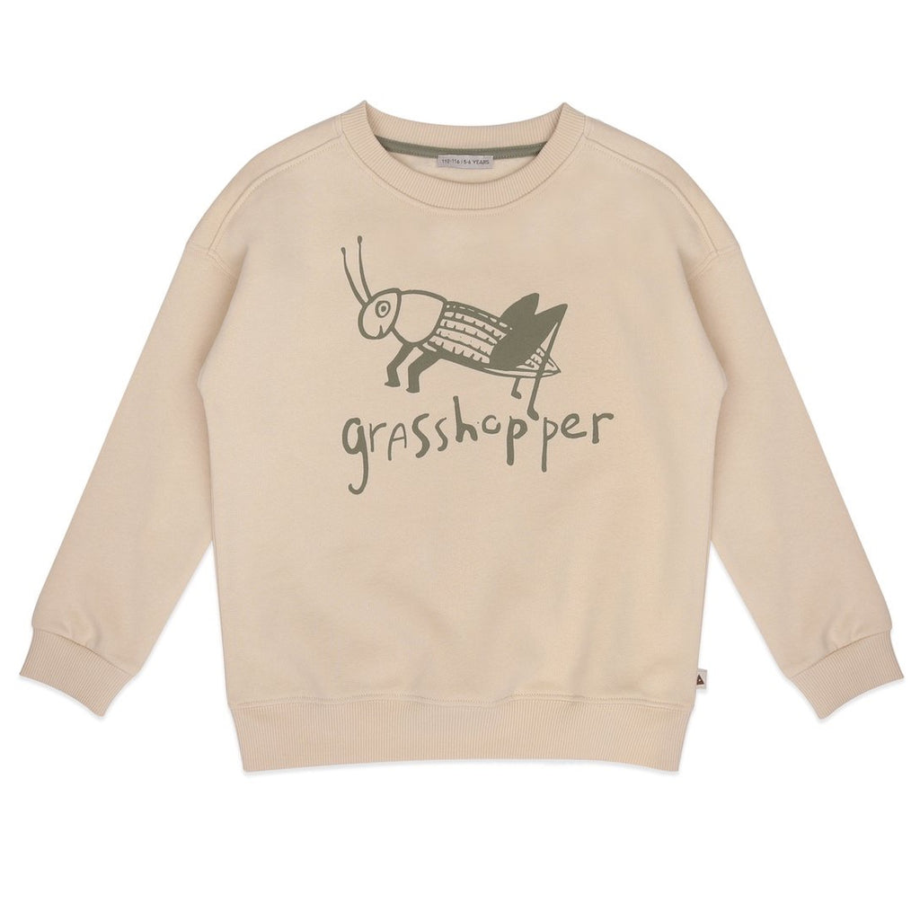 Ammehoela Grasshopper Sweatshirt ethically made in the EU with 100% Organic Cotton. The artwork at the front and at the back, on the left shoulder, make this piece unique.