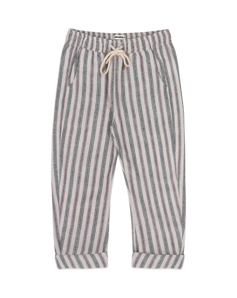 Ammehoela pants, perfect for warm weather. Ethically made in the EU. Gender neutral. Fit's true to size. Quality: 15% Linen / 35% Cotton / 50% Polyester.