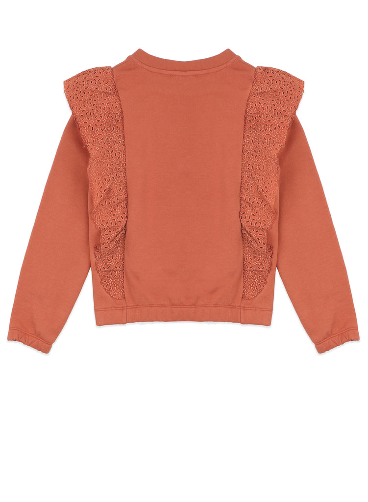 Ammehoela Organic Cotton sweatshirt in orange and with ruffles at the from and back.