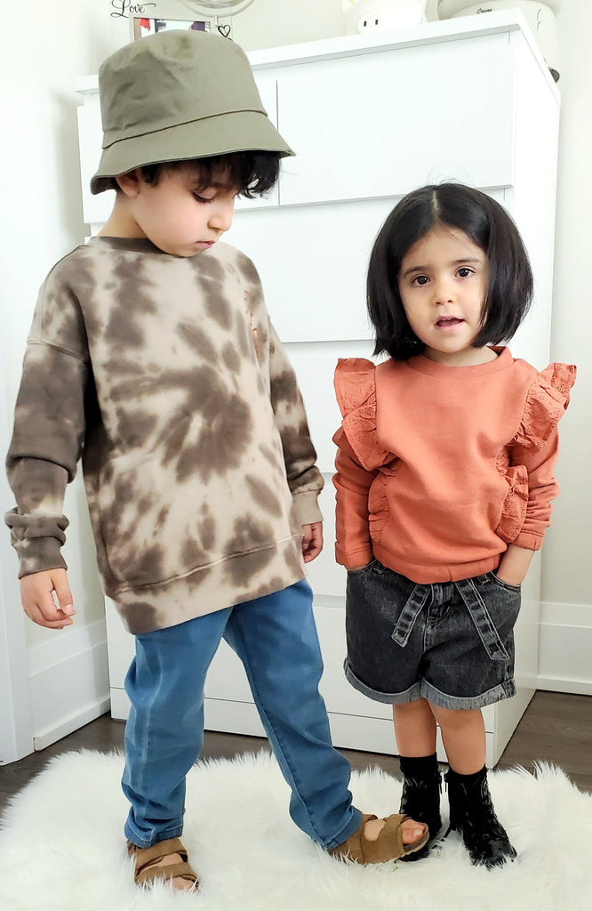 Kids wearing Ammehoela SS21 Collection. Made ethically with organic cotton.