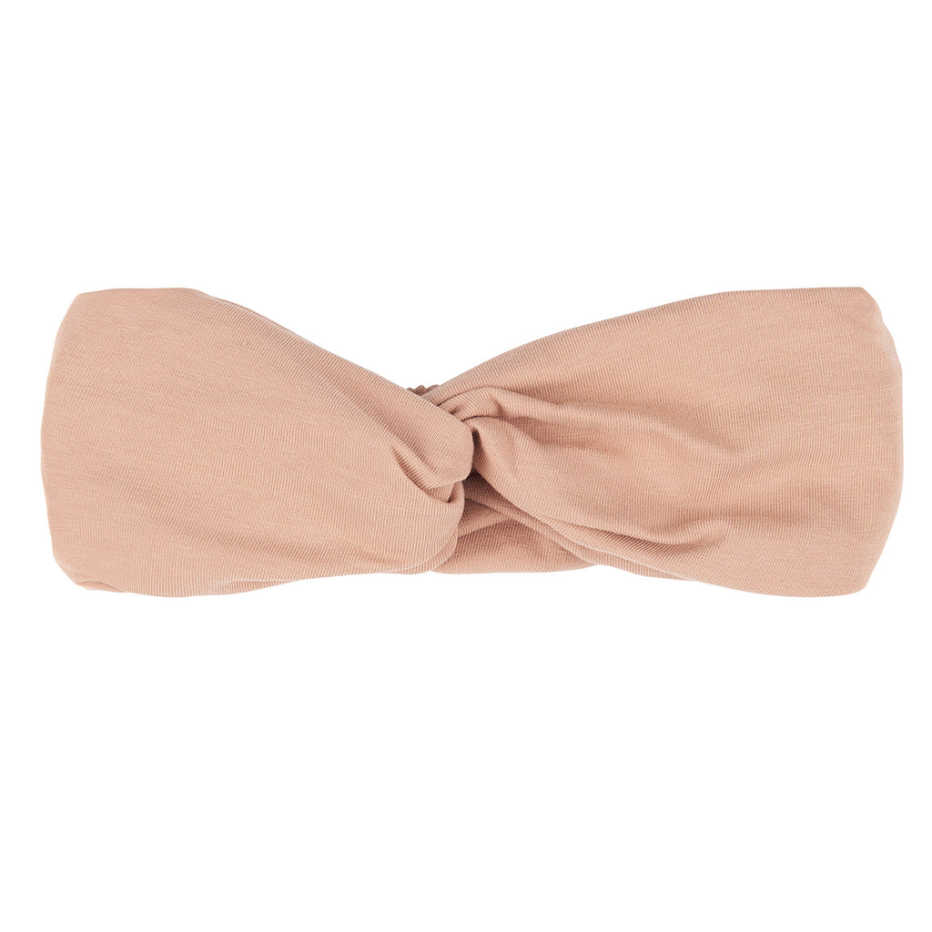95% GOTS organic cotton, 5% Elastane. Pink based elasticated twisted headband to complete any outfit.