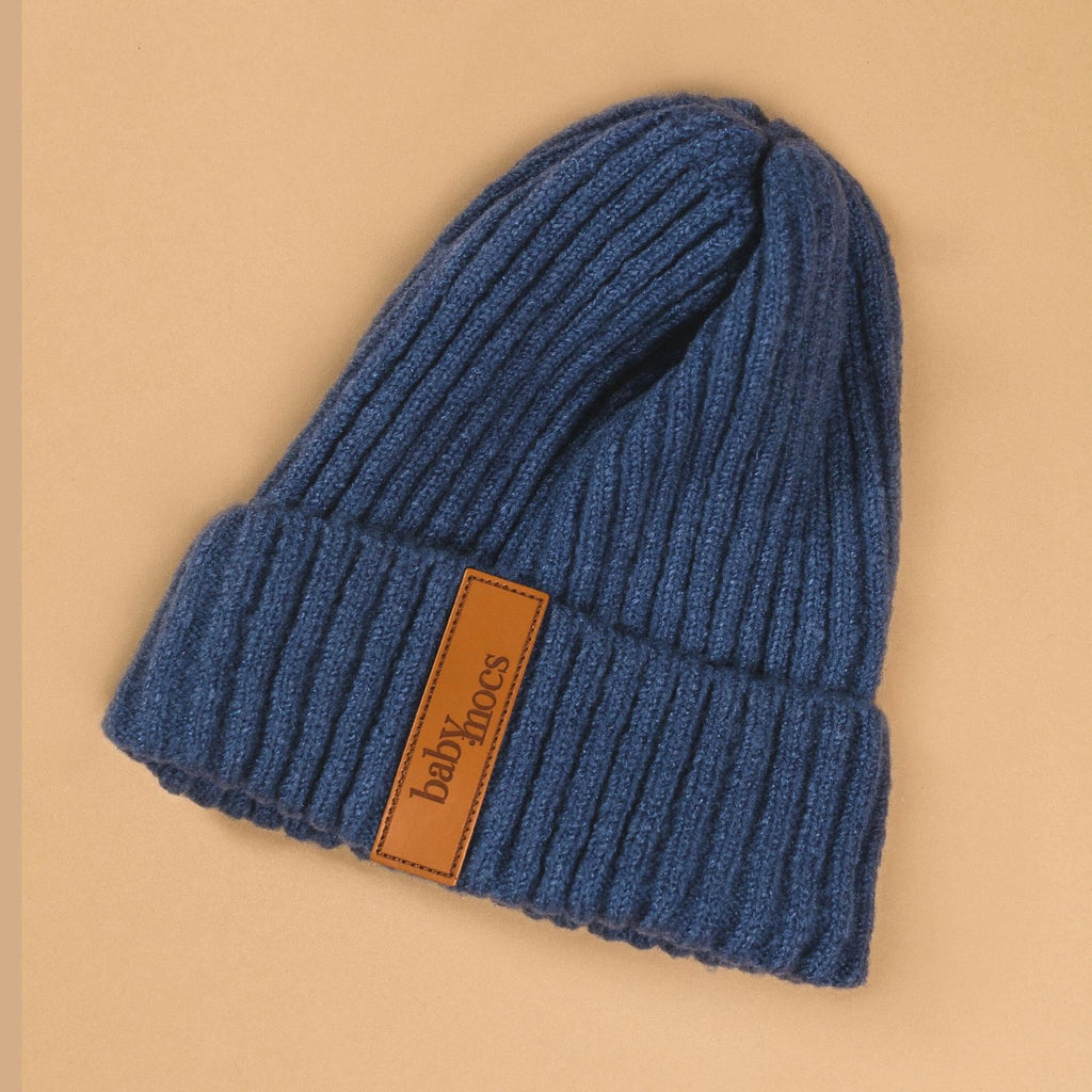 Blue beanie by BabyMocs. Hand made with 100% GOTS certified organic cotton.