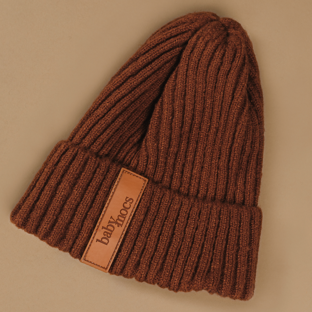BabyMocs beanie. Hand made with 100% GOTS certified organic cotton.