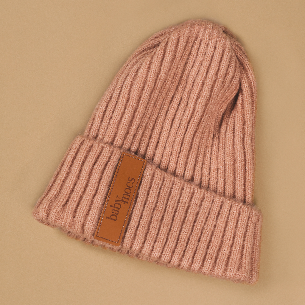 BabyMocs pink beanie. Hand made with 100% GOTS certified organic cotton.