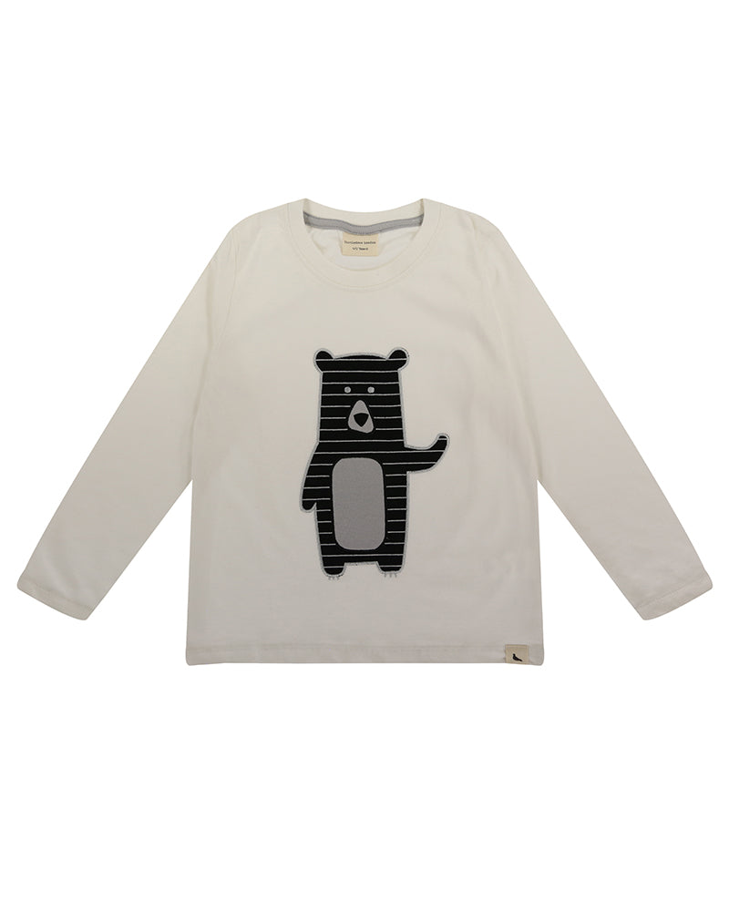 White long-sleeve top with black bear appliqué at the front. Made of organic cotton.