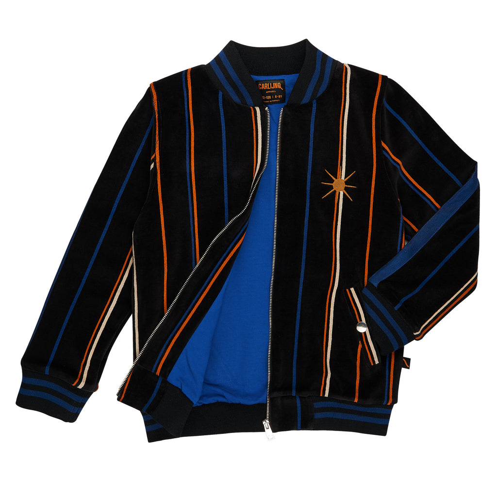 Black bomber jacket with colourful stripes.