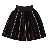 Black velvety midi skirt with colourful stripes.