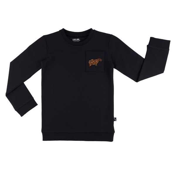 Capybara sweatshirt with a pocket in front. Black colour made of organic cotton.