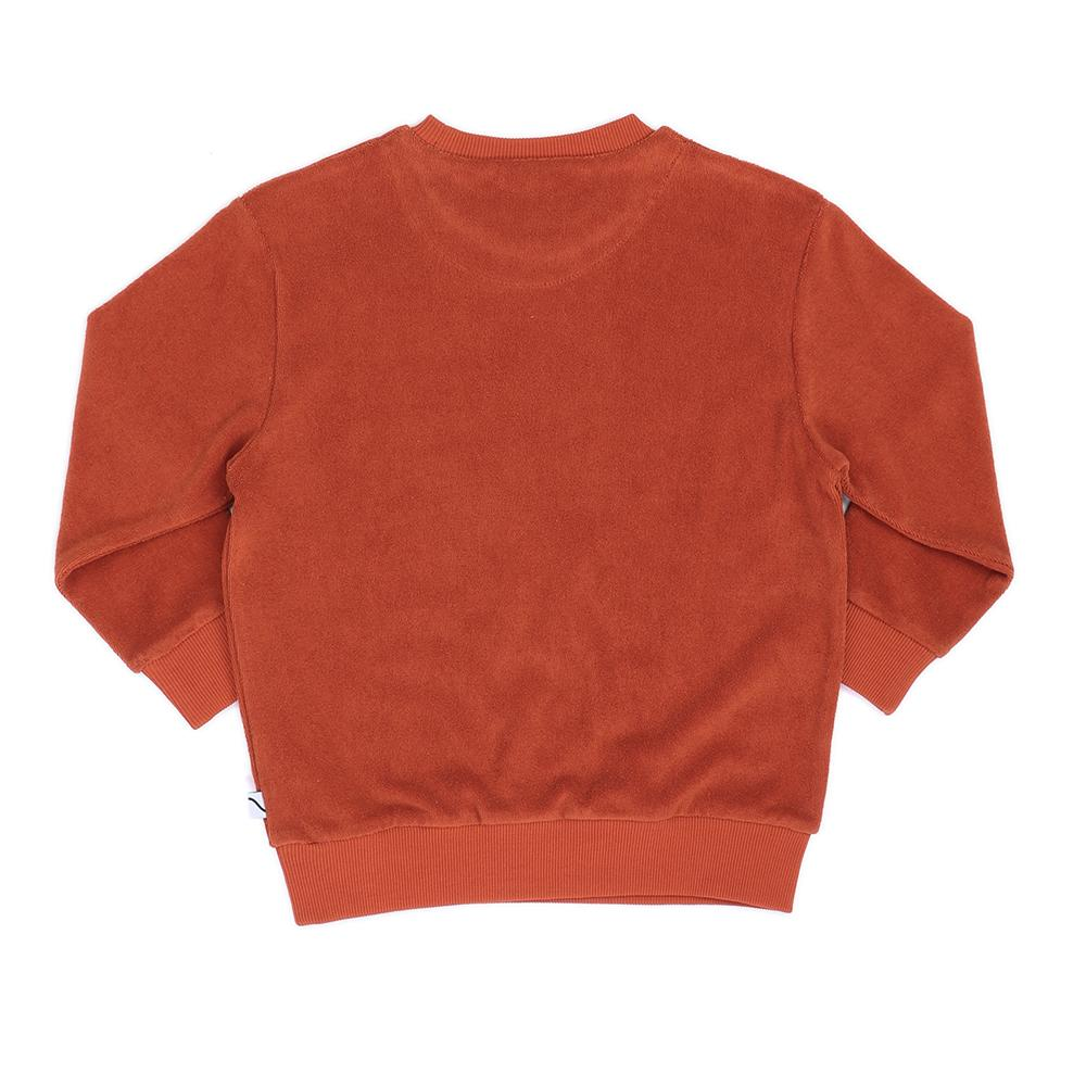 Carlijnq orange sweatshirt. Made of soft Terry towel. 80% organic cotton / 20% polyester. Ribbed cuffs & hem. Ethically made in Turkey.