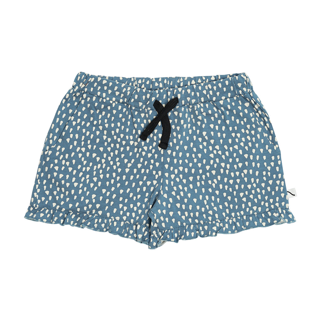 CarlijnQ Petrol sparkles ruffled shorts is a girly short with ruffles at the bottom. Comes with two side pockets and elasticated drawstring waist. 95% gots certified organic cotton.