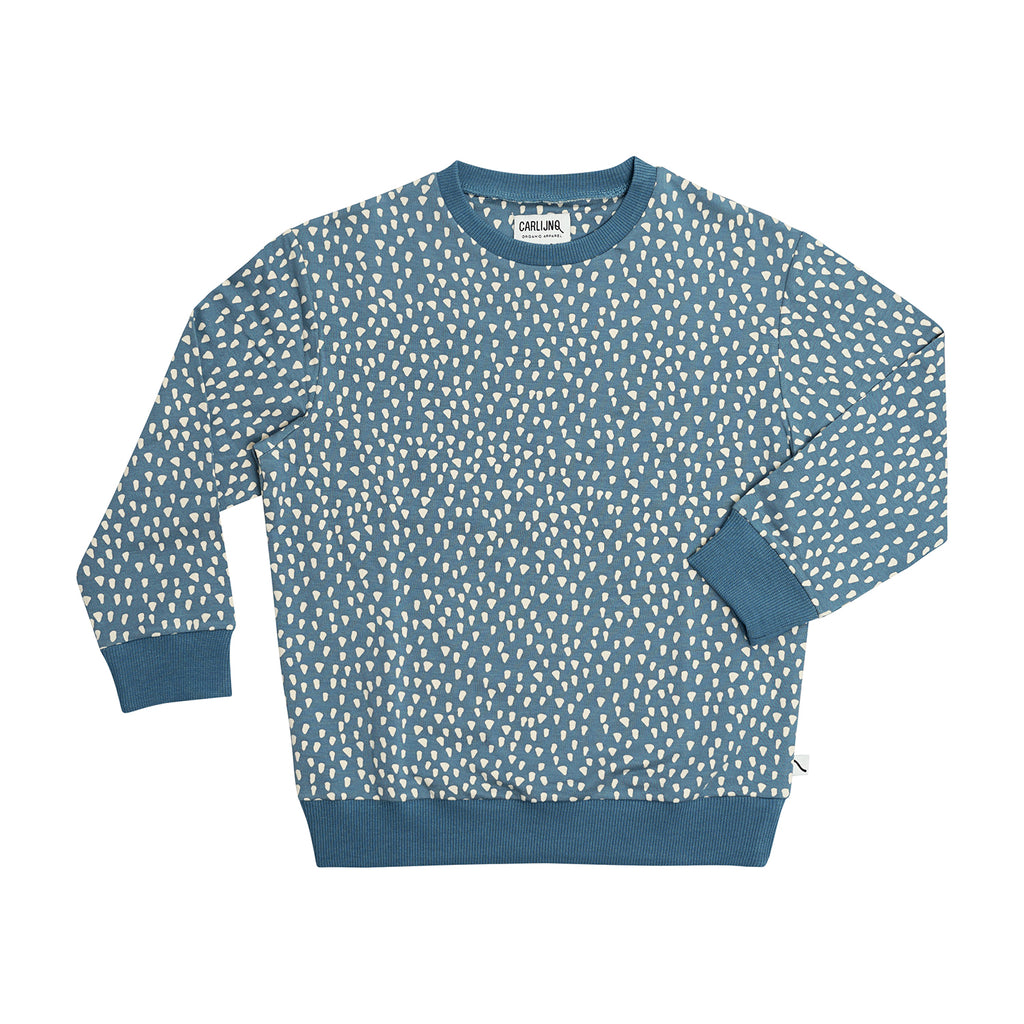 CarlijnQ petrol sparkle sweatshirt. Made with 48% GOTS organic cotton/  48% modal / 4% elastane.