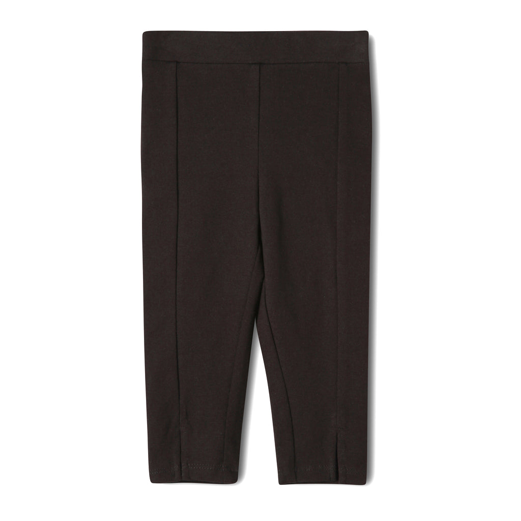 Black infant legging made with sustainable materials, 95% organic cotton, 5% spandex