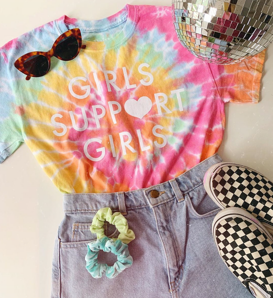 Daisy Natives calssic Girls Support Girls t-shirt in tie dye. Made ethically in Nicaragua with 100% cotton.