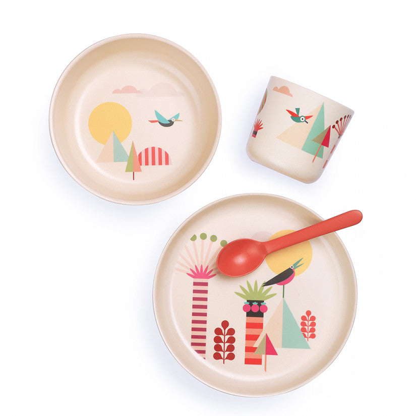 Ekobo Bamboo Tableware Kid Set made with FSC certified bamboo fibre and soy inks. Comes with a bowl, plate, small cup and spoon.