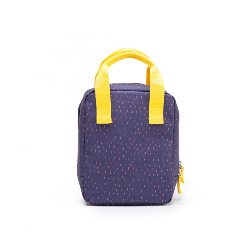 Ekobo insulated lunch bag in blue with red dots, and yellow handles.