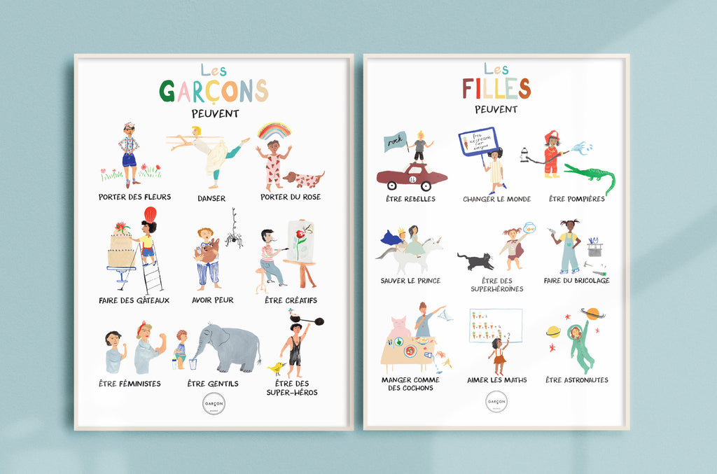 "French ""Girls Can"" & ""Boys Can"" Poster by Garcon Milano"