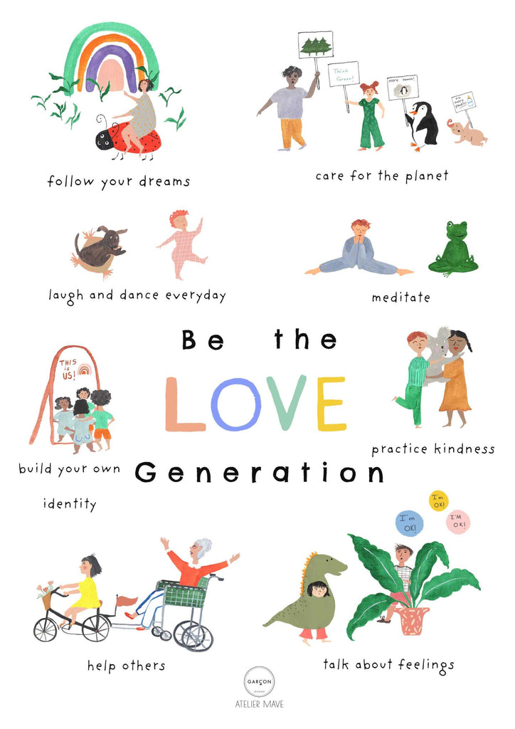 Garcon Milano Be The Love Generation poster, made in Italy.