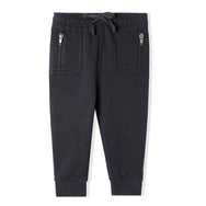 Navy blue infant joggers made with 100% organic cotton and dyed with eco-friendly dyes.