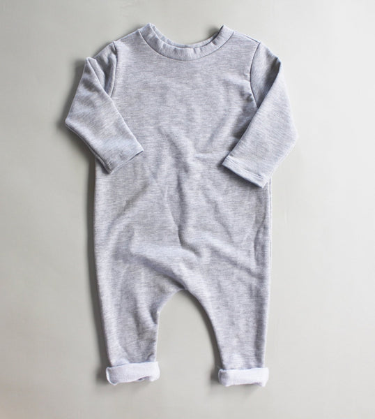 HEATHER GREY LONG SLEEVE ONESIE