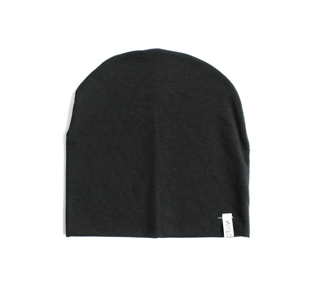 This black beanie was made with 100% organic bamboo. Super soft and modern.