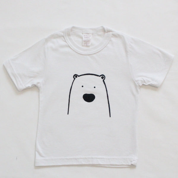 Organic cotton white t-shirt with a bear on the front. Hand made in USA.