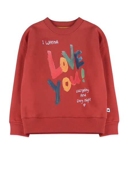 I love You sweatshirt with crew neck in red. Made of organic cotton.