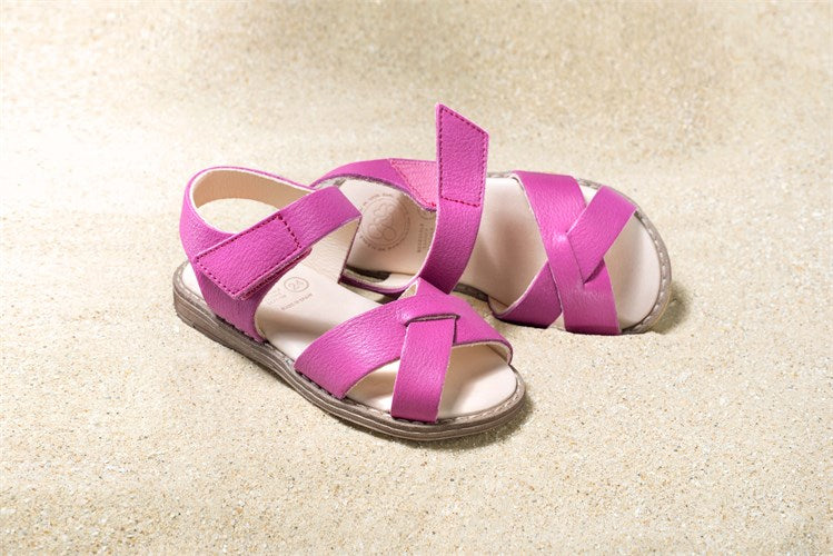 Girls pink sandals with velcro ethically made with eco-friendly materials.