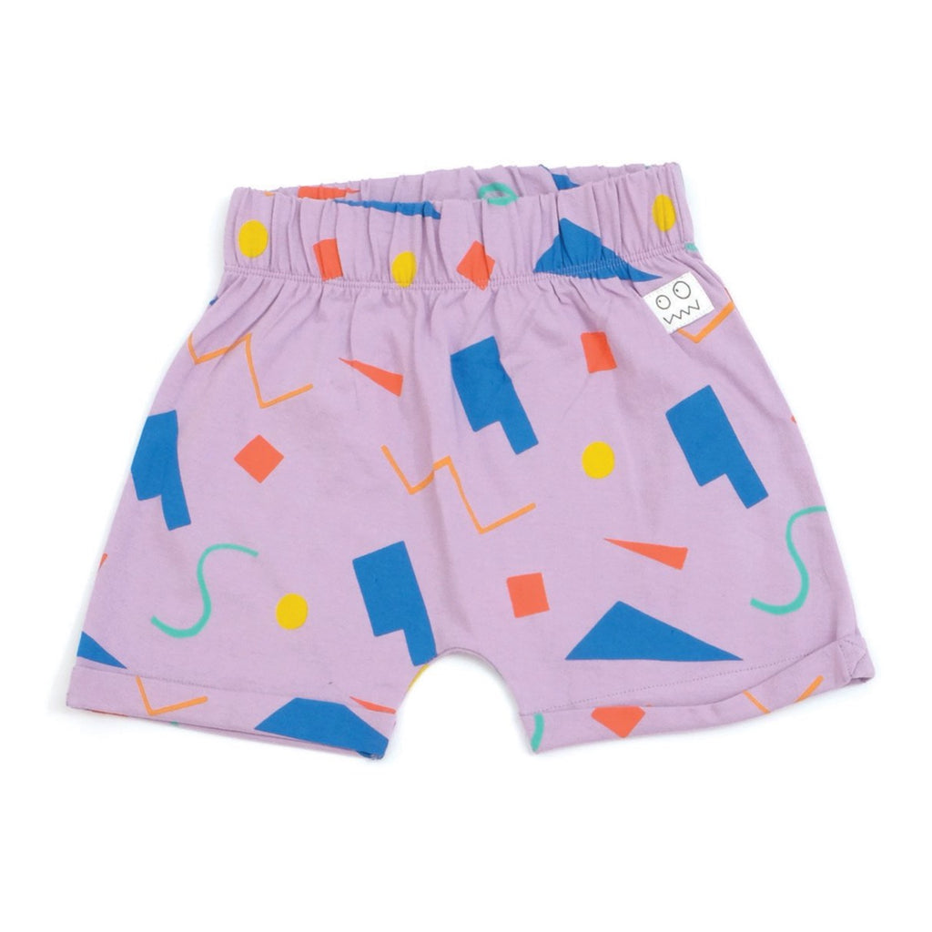 Indikidual geometric shorts in lilac. Made with 100% organic cotton in India. Sustainable kids' fashion.