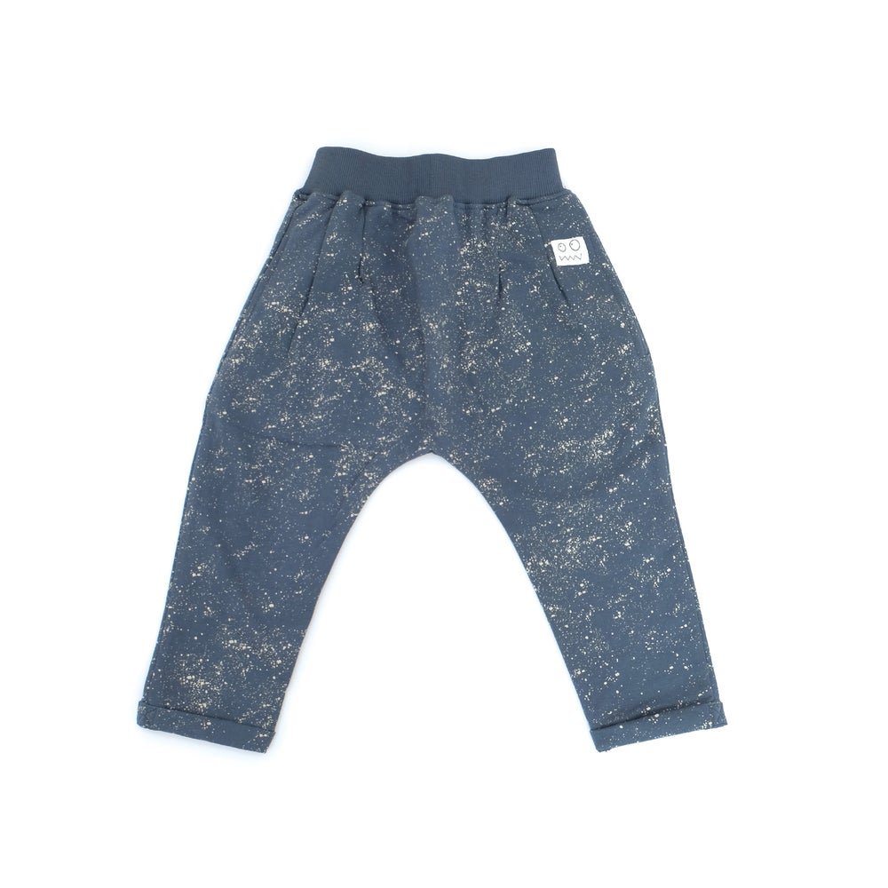 Indikidual splatter print harem pants. Ethically made in India with 100% organic cotton.