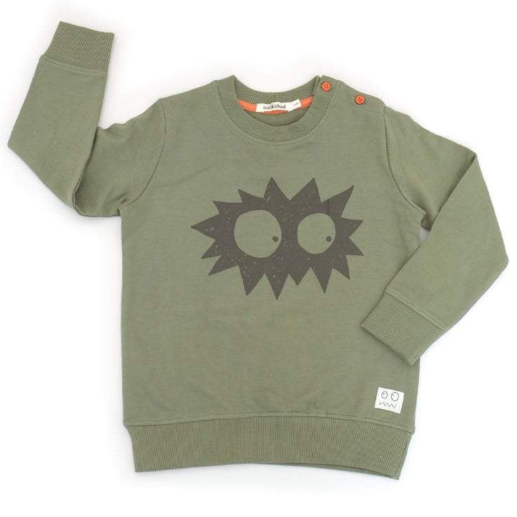 Indikidual peeping eyes sweatshirt. Ethically made with 100% organic cotton.