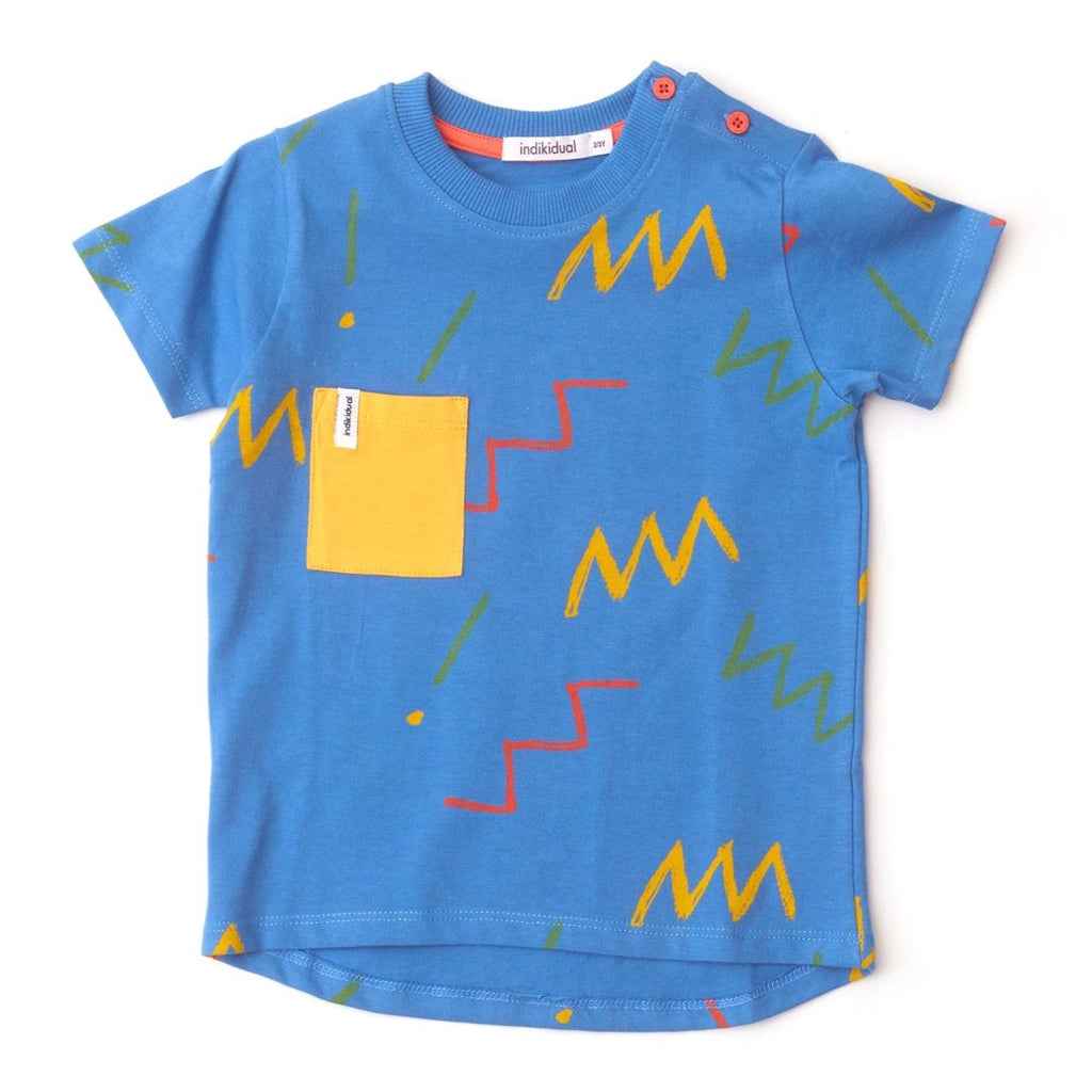Indikidual Zig zag patter t-shirt with pocket (12/24m and 2/3y have buttons at the neck). Made ethically in India with 100% Organic Cotton.