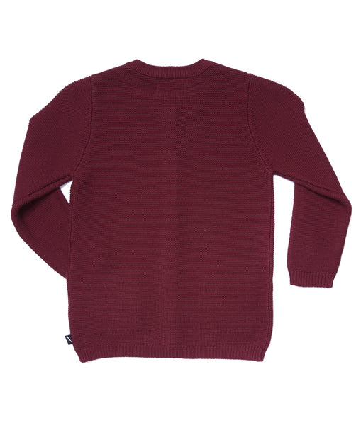 Knit Burgundy Cardigan + pockets