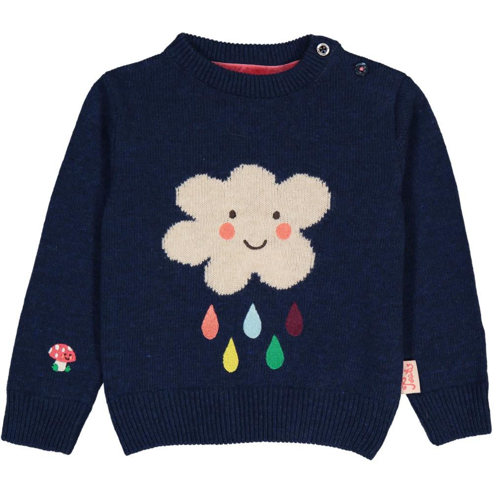 Crewneck sweater with a white cloud and colourful rain drops. Made of cashmere and wool. Navy blue.