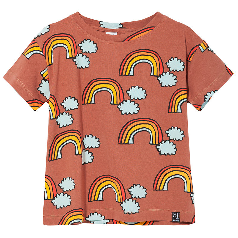 Kukukid brown rainbow t-shirt. Ethically made in Poland.