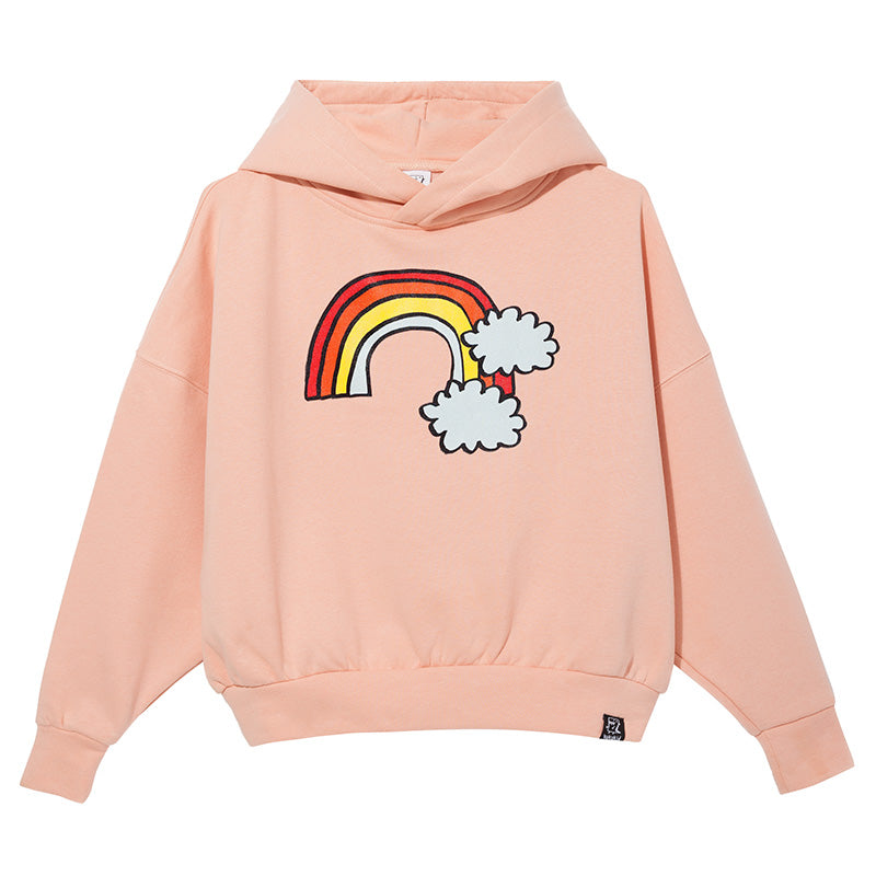 Kukukid oversized hoodie with rainbow print at the front. Ethically made in Poland.