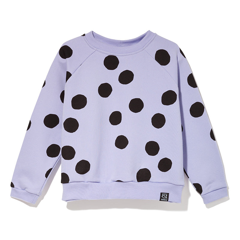 Kukukid Lilac Polkadot Sweatshirt composed of 80% cotton, 20% polyester with a certificate OEKO TEX STANDARD 100 made ​​in Poland.