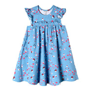 Blue dress with ladybug print. A-line and small frills around the chest area.