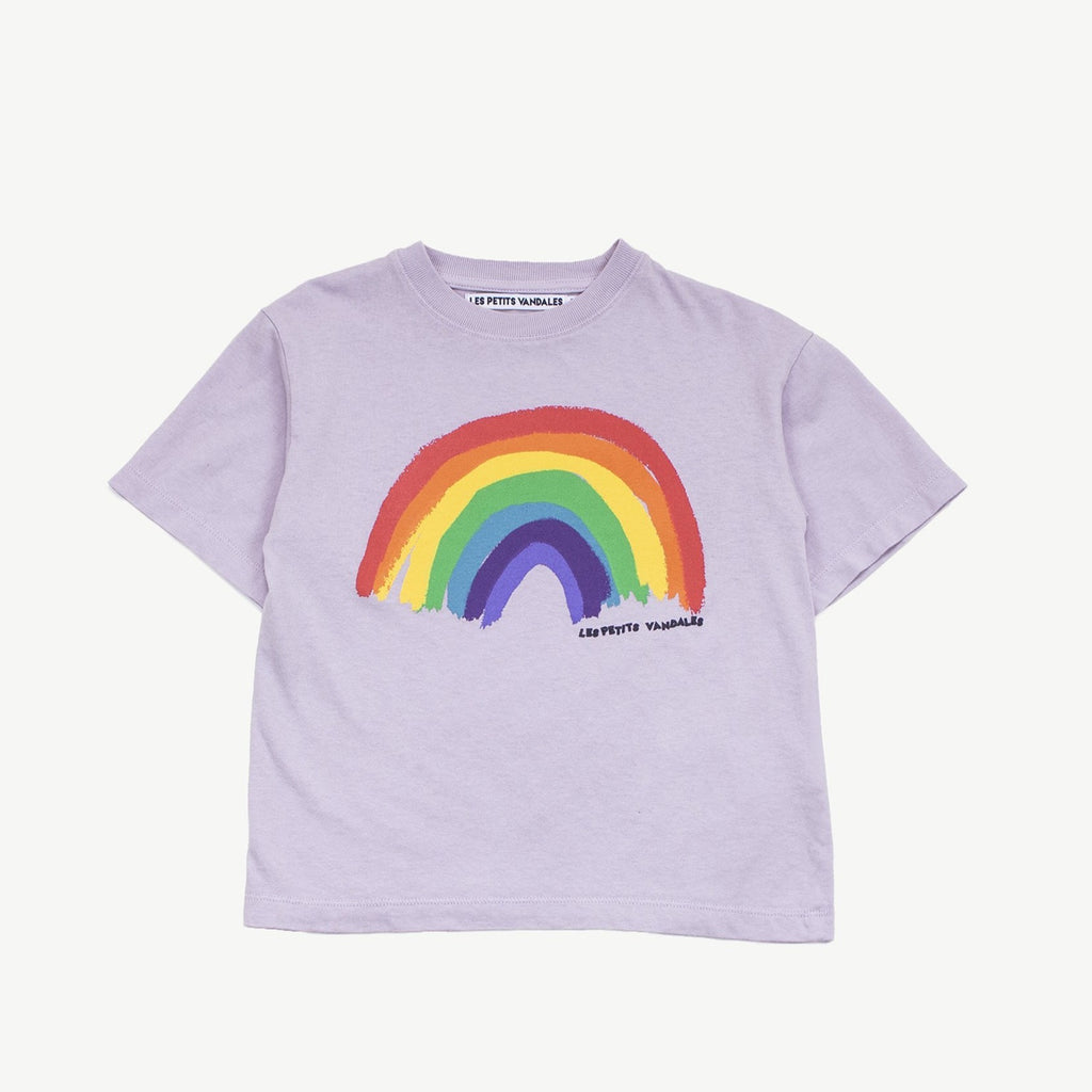 Les Petits Vandales crew neck, short sleeve purple t-shirt with a rainbow at the front. Made with 100% cotton.