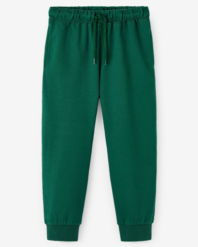 Nadadelazos blitz pants in dark green. Jogger style, made of 100% organic cotton. Two side pockets and a blitz print at the back.