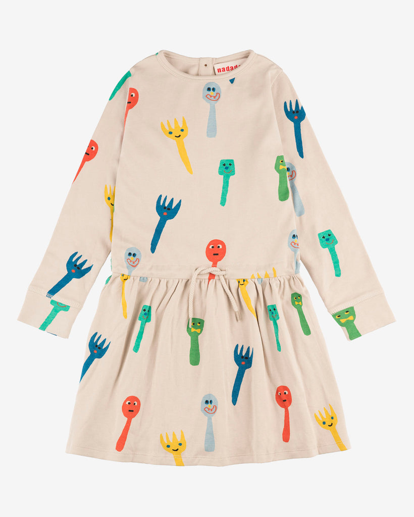 Nadadelazos crazy fork and spoon dress. Made of 100% organic cotton. Long Sleeve.