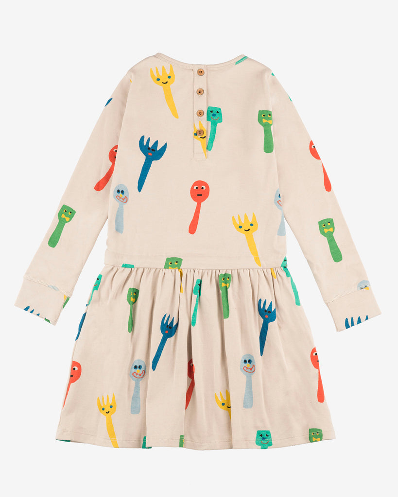 Nadadelazos crazy fork and spoon dress. Made of 100% organic cotton. Long Sleeve. Back
